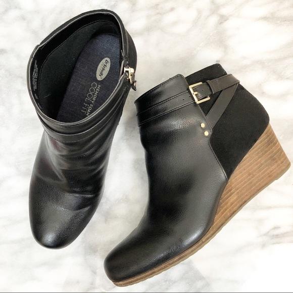 dceb907376d Dr. Scholl s Shoes - Dr. Scholl s Double black wedge heel booties 10